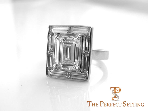 Baguette Halo Emerald Cut Diamond Engagement Ring