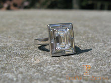 Load image into Gallery viewer, Baguette Halo Emerald Cut Diamond Engagement Ring platinum