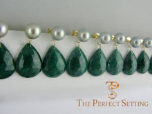 Load image into Gallery viewer, bridesmaid pearl and emerald earrings