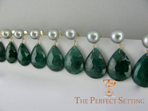 bridesmaid emerald slice and pearl earring