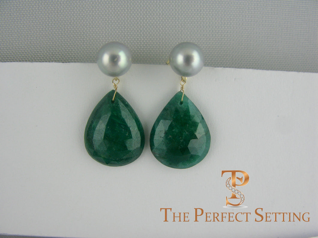 bridesmaid emerald pearl earring