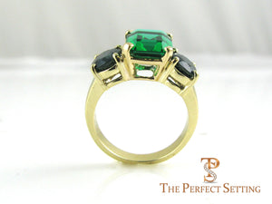 Emerald Sapphire right hand ring