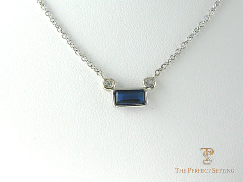 Emerald Cut Sapphire With Diamond Accents Pendant