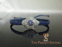 Load image into Gallery viewer, Evil Eye Diamond Sapphire Macrame Bracelet