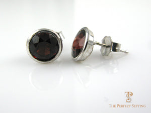 Bezel set garnet earrings