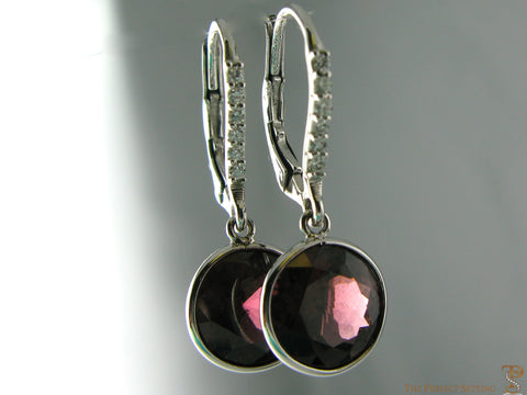 Garnet and Diamond Solitaire Earrings