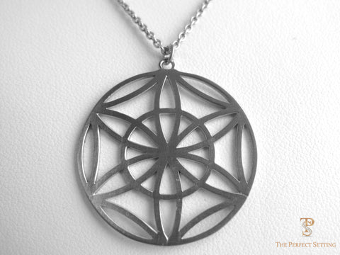 Geometric 18K White Gold Pendant