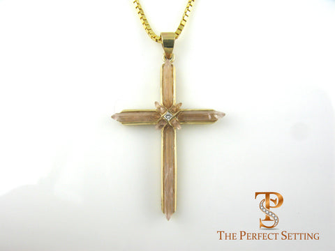 Gold Cross with Quartz and Diamond