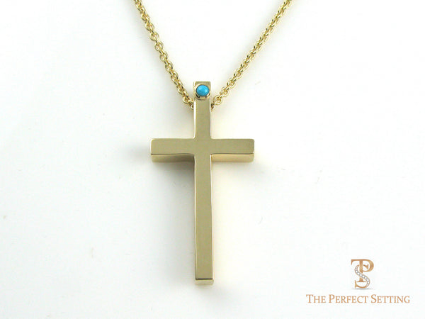 Gold Cross Pendant with Turquoise