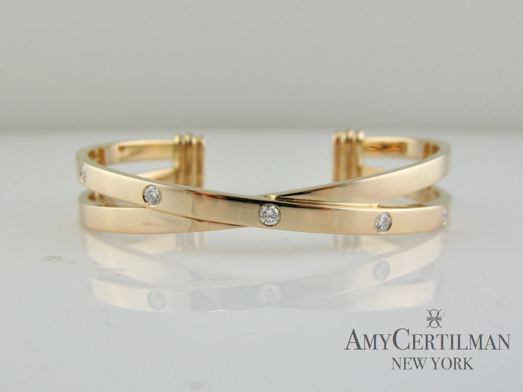 criss cross rose gold diamond cuff bracelet