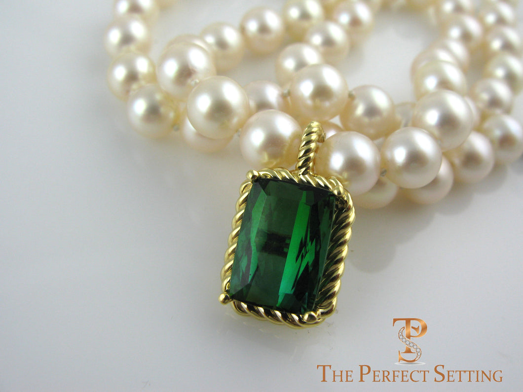 Emerald Cut Tourmaline with Gold Rope Enhancer