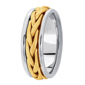 Hand woven mens wedding band two tone white gold