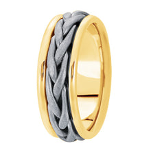 Load image into Gallery viewer, Hand woven mens wedding band two tone yellow gold