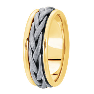 Hand woven mens wedding band two tone yellow gold