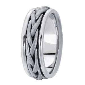 Hand woven mens wedding band white gold