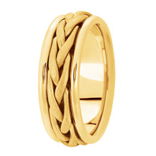 Load image into Gallery viewer, Hand woven mens wedding band yellow gold