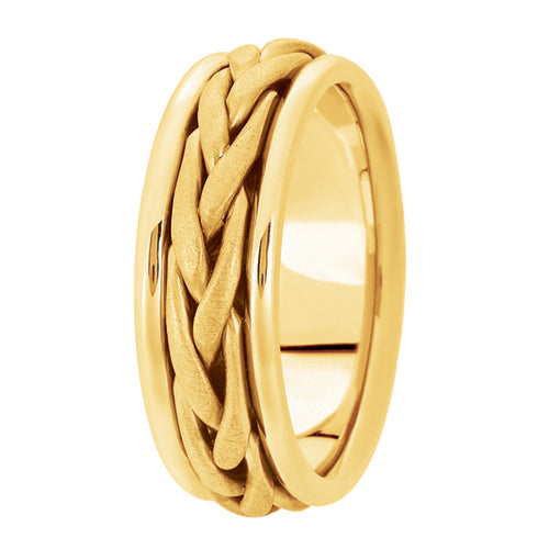 Hand woven mens wedding band yellow gold