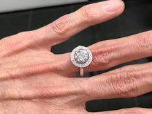 Load image into Gallery viewer, Vintage Halo Diamond Ring with Adjustable Shank for Arthritis and Arthritic Fingers