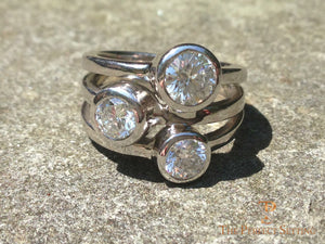 three stone bezel ring diamonds outside