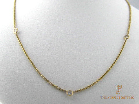 3 Stone Diamond Necklace