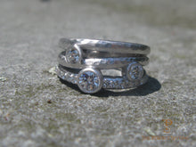 Load image into Gallery viewer, 3 Stone Rustic Diamond Ring