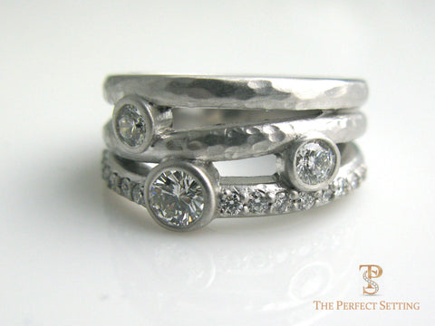 3 Stone Rustic Diamond Ring
