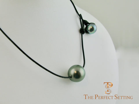 Tahitian Jumbo Pearl St Barths Style Necklace Leather Cord