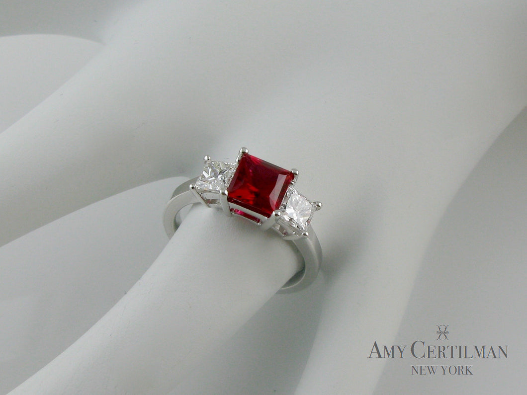 Lab Created Ruby and Diamond Three Stone Engagement Ring