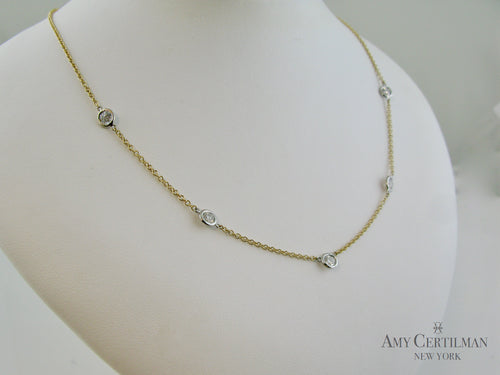 Bezel Lab Diamond 5 Stone Station Necklace