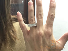 Load image into Gallery viewer, Large Radiant Cut Diamond Eternity Band ring selfie