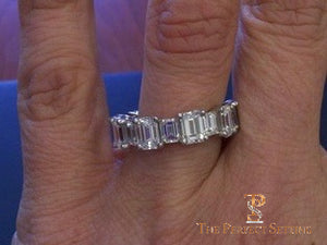 Large and Small Emerald cut diamond eternity band ring selfie