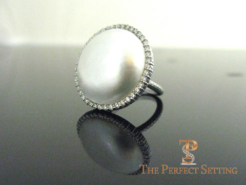 Mabe Pearl and Diamond Cocktail Ring