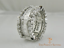 Load image into Gallery viewer, Marquise, Baguette and Round Diamond Wedding Eternity Band side view