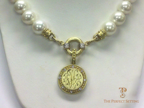 Monogram Gold Enhancer on gold extender and pearls