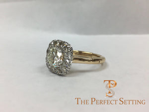 Old European Diamond with Halo and Adjustable Shank Band