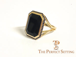 Custom Onyx and Sapphire Halo Statement Ring