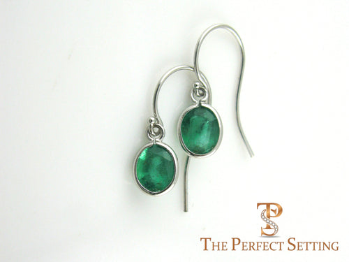 Oval Emeralds on Earring Wire 18K White Gold