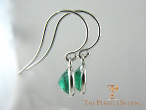 Oval Emerald Earrings Bezel Set on Wire