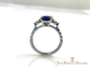 Oval Sapphire Diamond Custom Engagement Ring