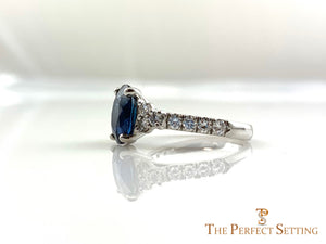 Oval Sapphire Diamond Custom Engagement Ring side view