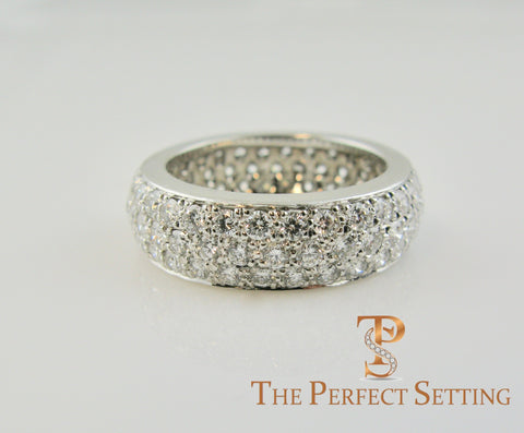 Pave diamond three row wedding band ring