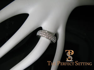Pave Diamond 3 Row Ring Platinum 2.70 ctw