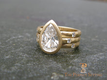 Load image into Gallery viewer, Pear Diamond Bezel Set Signature Ring 18K Yellow Gold