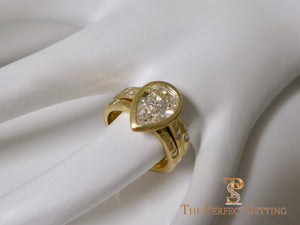 Pear Diamond Bezel Set Signature Ring 18K Yellow Gold