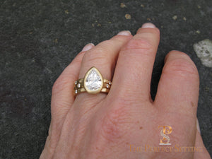 Pear Diamond Bezel Set Signature Ring 18K Yellow Gold selfie