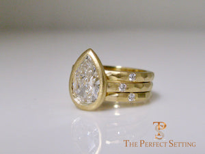 Pear Diamond Bezel Set Signature Ring 18K Yellow Gold rustic