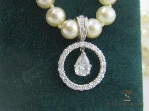 Pear Diamond Circle Pendant Enhancer on Pearls