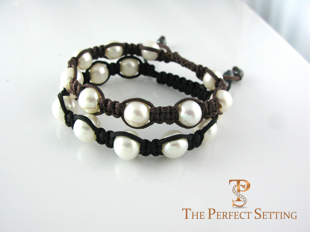 pearl macrame bracelet brown or black