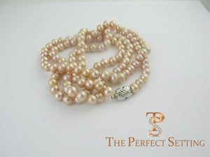 "custom pink pearl 36"" necklace X gold clasp"