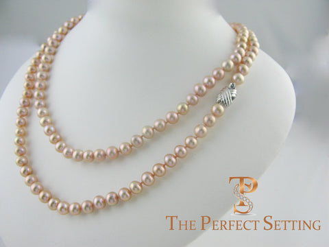 "pink pearl 36"" necklace X gold clasp"